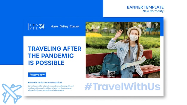 Horizontal banner for travel booking Free Psd