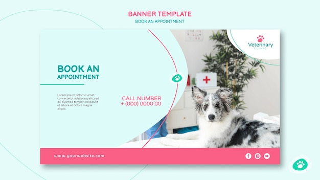 Horizontal banner for vet appointment Free Psd