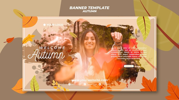Horizontal banner for welcoming the autumnal season Free Psd