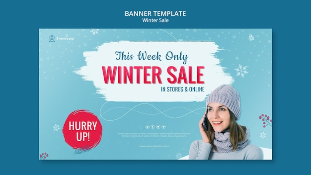 Horizontal banner for winter sale with woman and snowflakes Free Psd