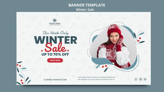 Horizontal banner for winter sale Free Psd