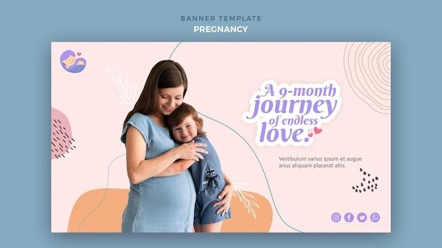 임신 한 여자와 가로 배너 무료 PSD 파일