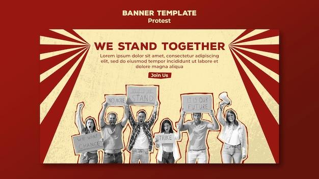 Горизонтальный баннер с протестом за права человека Бесплатные Psd