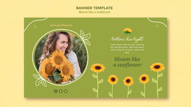 Horizontal banner with sunflowers and woman Free Psd