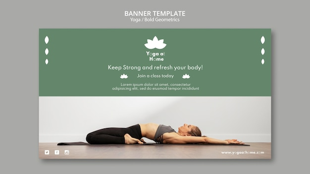 Горизонтальный баннер с женщиной, практикующей йогу Бесплатные Psd