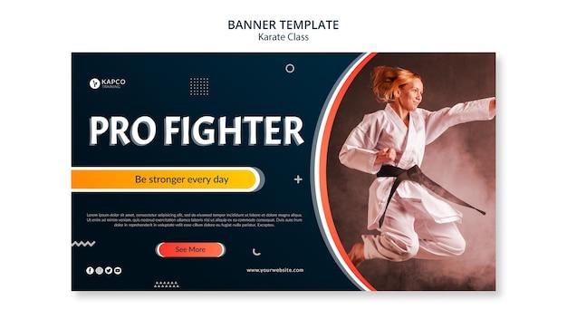 Banner orizzontale per le lezioni di karate femminile Psd Gratuite