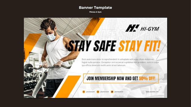 Horizontal banner for working out at the gym during the pandemic Free Psd