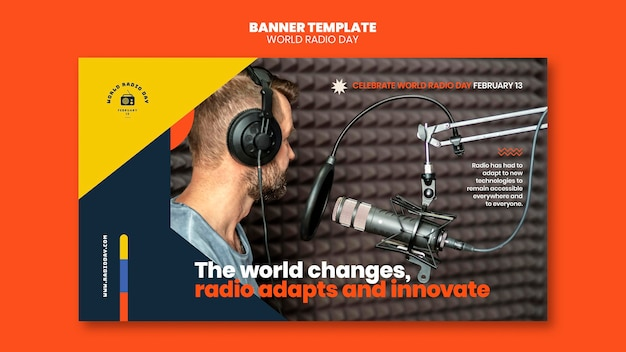 Horizontal banner for world radio day with broadcaster and microphone Free Psd