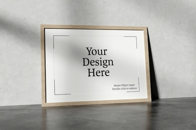 Horizontal frame leaning against a wall mockup Premium Psd