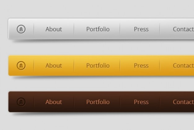Horizontal menu design in three colors psd file free for Horizontal menu templates free download