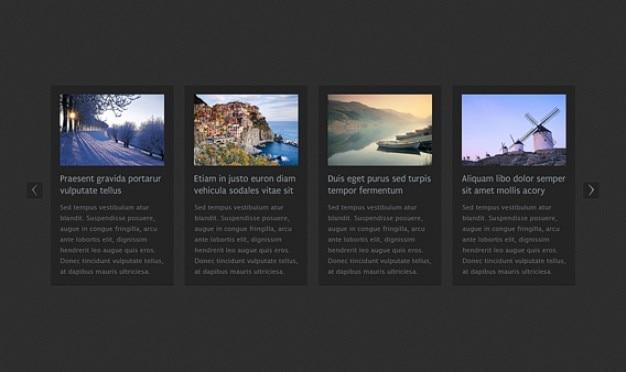 Горизонтальная карусель новостей html Бесплатные Psd