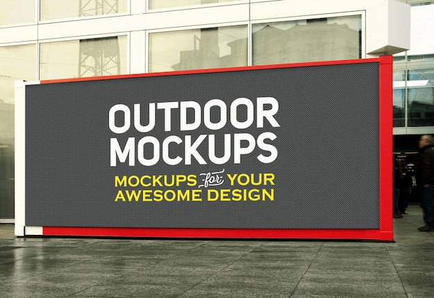 Horizontal outdoor panel mock up Free Psd