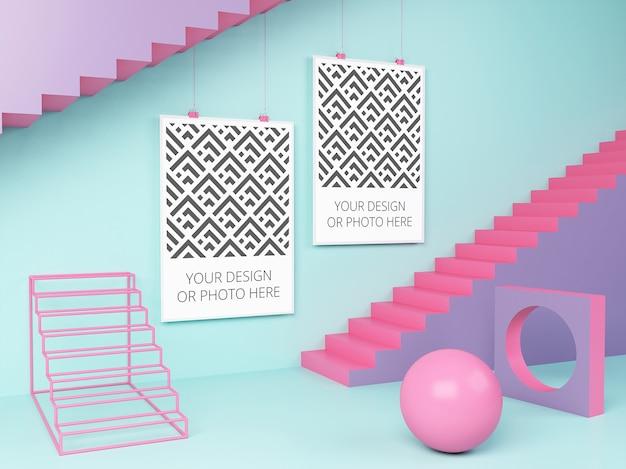 幾何学的シーンのモックアップの水平ポスター Premium Psd