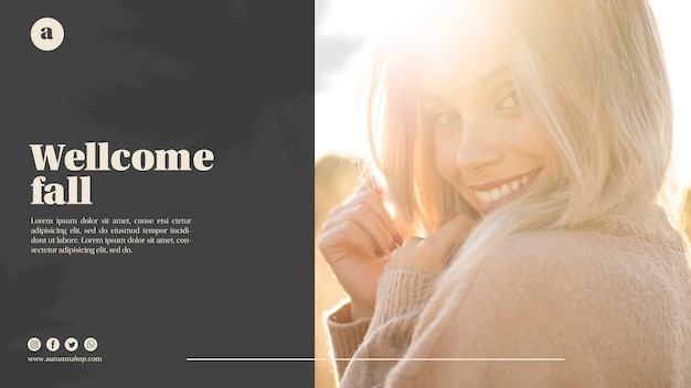 Horizontal web template with blonde woman Free Psd