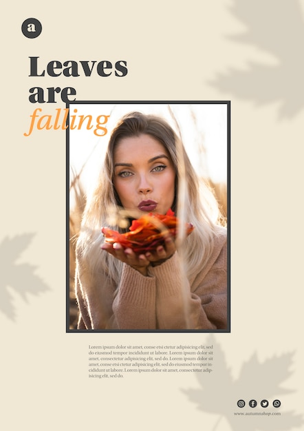 Horizontal web template with woman holding orange leaves Free Psd