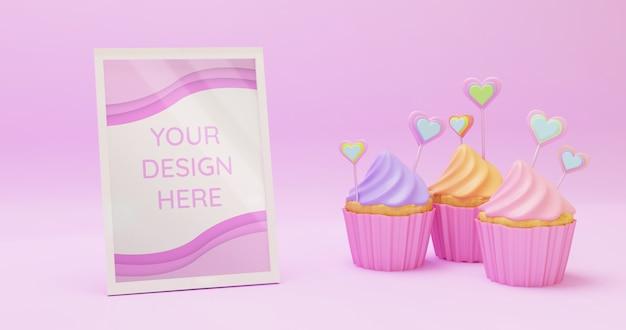 Горизонтальная белая рамка макет со сладкими красочными кексы в розовом фоне поверхности, 3d визуализации Premium Psd