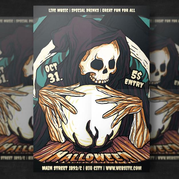 Horror halloween party flyer template Premium Psd