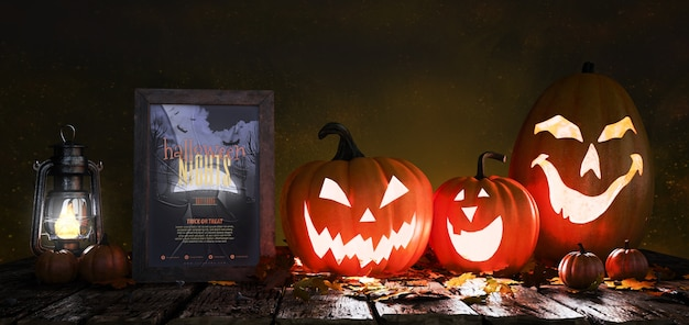Horror movie poster with scary pumpkins Free Psd