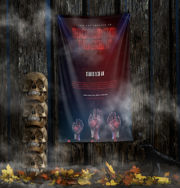 Horror night halloween poster with pile of skulls Free Psd