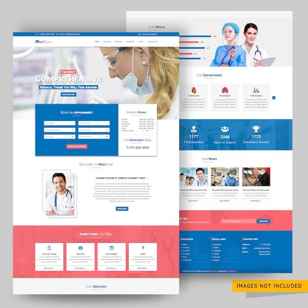 病院および薬局のwebテンプレート Premium Psd