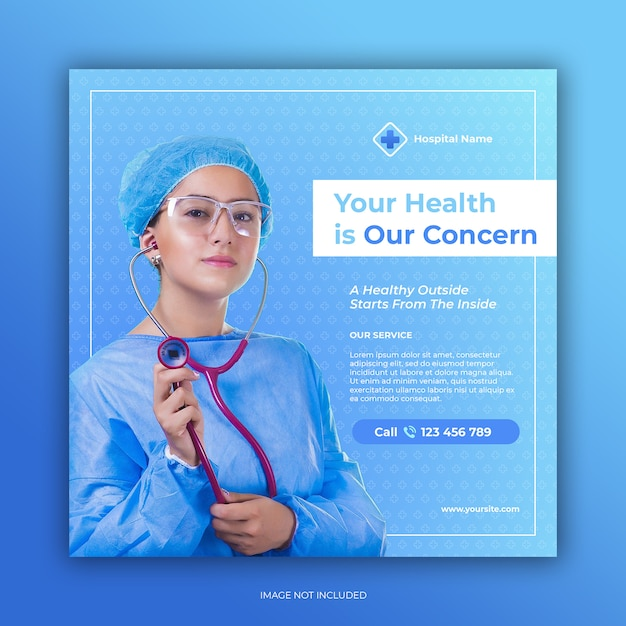 Hospital banner for social media post template Premium Psd