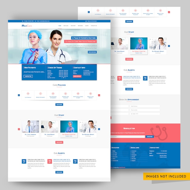 Hospital and doctor consultancy website psd template Premium Psd