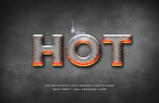 Hot 3d text style effect template Premium Psd