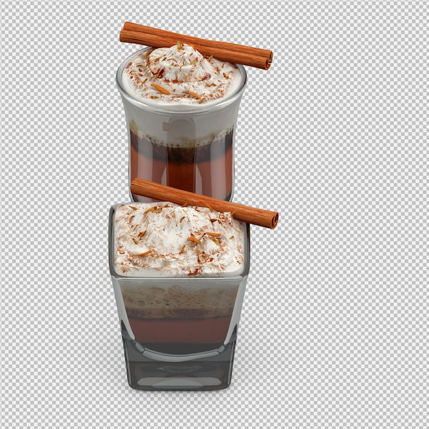 Hot cappuccino 3d isolated render Premium Psd