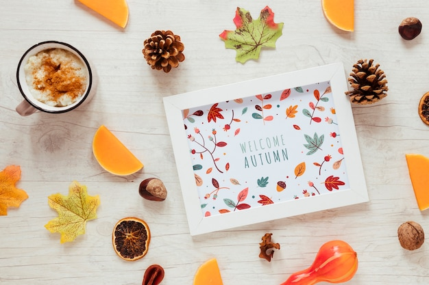 Hot chocolate and pine cones with framed mock-up Free Psd