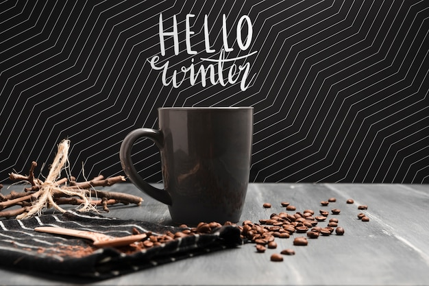 Hot coffee on cold season concept Free Psd