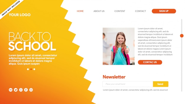 Hot landing page back to school content Premium Psd