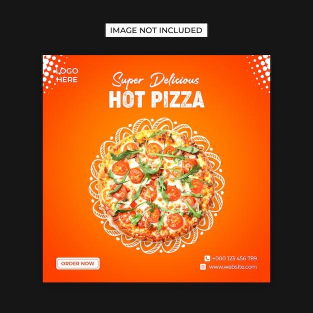 Горячая пицца в социальных сетях и шаблон поста instagram Premium Psd