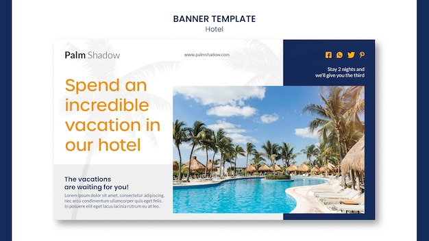 Hotel ad banner template Free Psd
