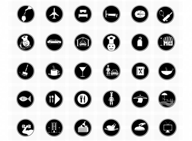 Hotel icons photoshop icons restaurant icons vector icons Free Psd