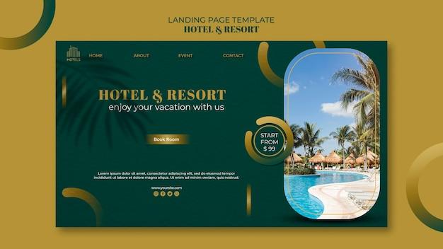 호텔 및 리조트 개념 방문 페이지 템플릿 프리미엄 PSD 파일