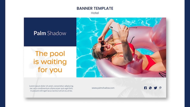 Hotel with swimming pool banner template Premium Psd