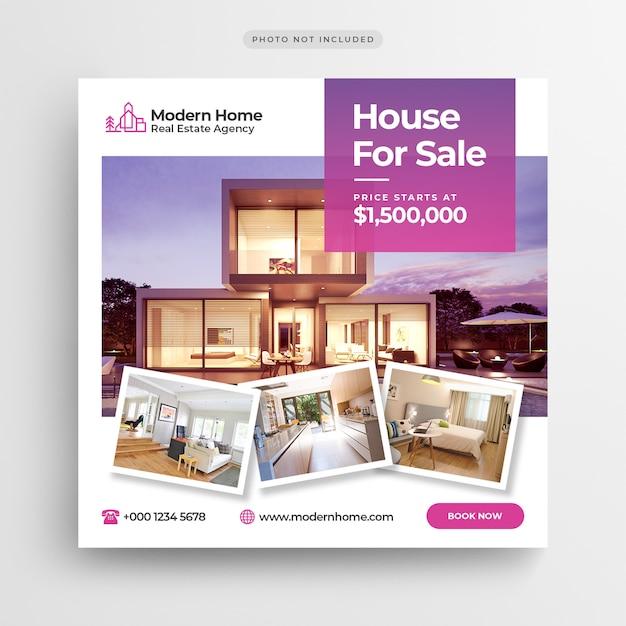 Дом для продажи баннер в социальных сетях или квадратный флаер шаблон Premium Psd