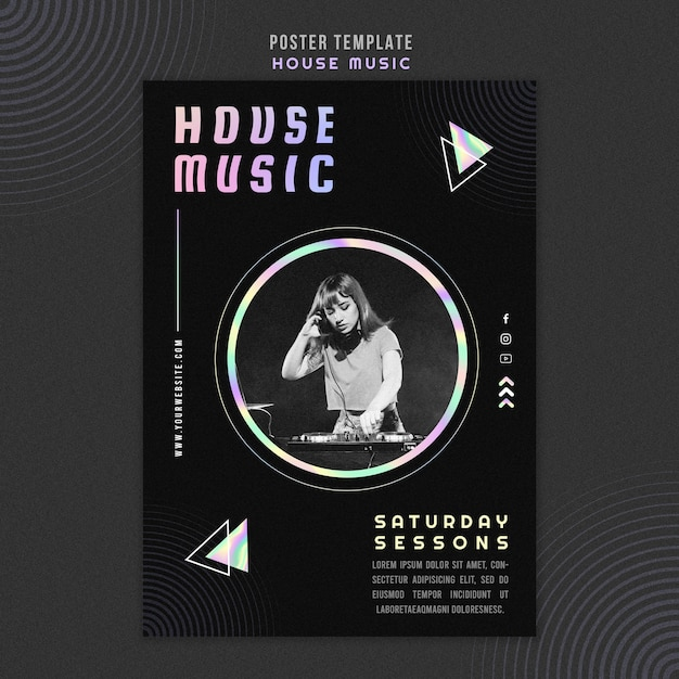 House music ad template poster Free Psd