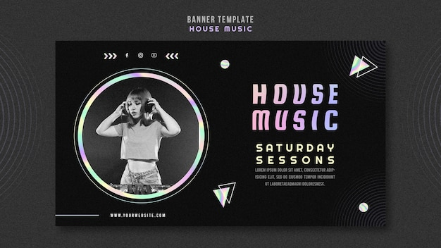 House music banner template Free Psd
