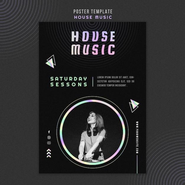 Poster modello di musica house Psd Gratuite