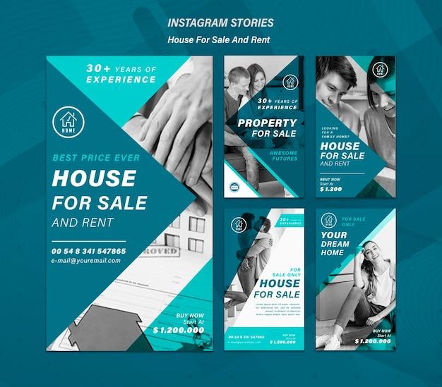 집 판매 소셜 미디어 이야기 프리미엄 PSD 파일