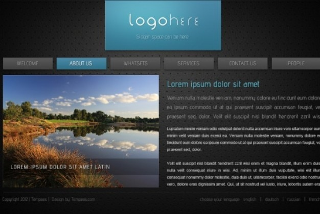 html website template in dark style psd file free download