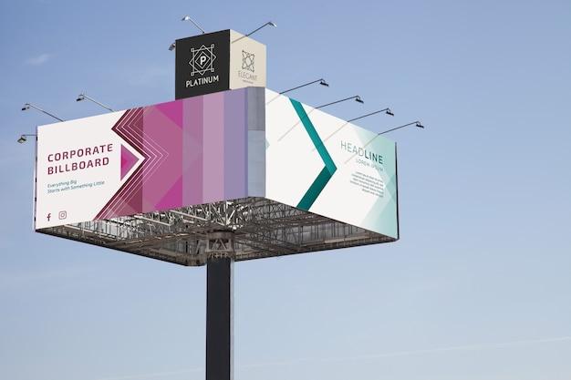 Huge billboard mockup on blue sky background Free Psd