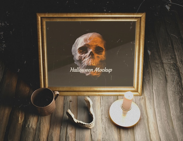 Human mandible on a table with mock-up skull Free Psd