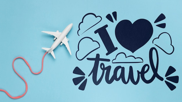 I love travel, motivational lettering quote for holidays traveling concept Free Psd