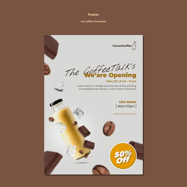 Ледяной кофе шоколадный плакат Бесплатные Psd