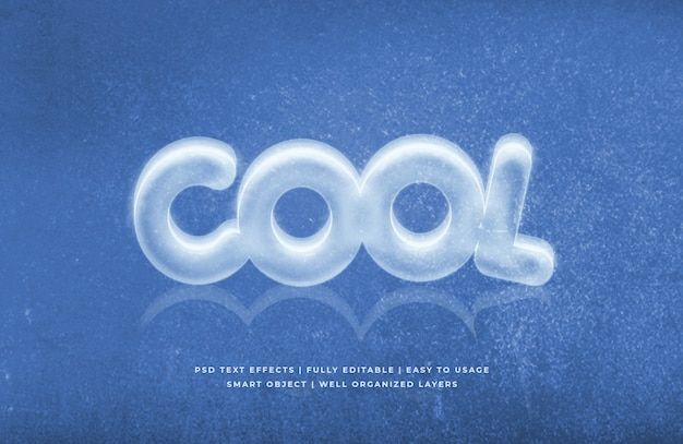 Ice cool 3d text style effect Premium Psd