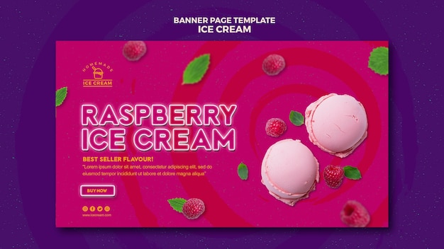 Баннерная тема мороженого Бесплатные Psd