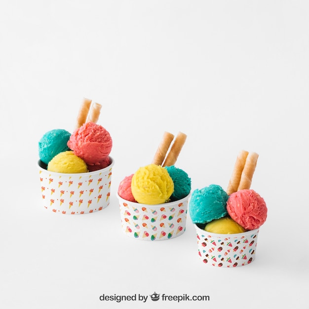 Ice cream composition of three cups Free Psd