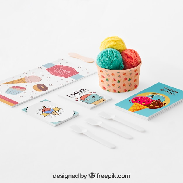 Ice cream composition Free Psd